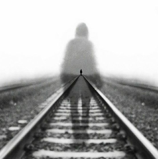 The Journey | Abstract Photographer Micha Rainer Pali | ghosts | perspective | train tracks | black & white photography | winter ghost | spirit | lost soul | eerie | lonely