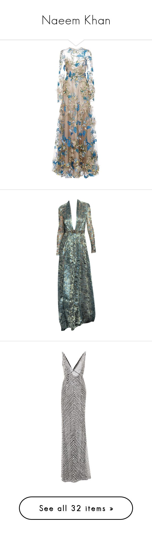 """""""Naeem Khan"""" by floriane97 ❤ liked on Polyvore featuring dresses, gowns, long dress, naeem khan, silver, long sleeve evening dresses, floral embroidered dress, floral ball gown, long sleeve ball gowns and long sleeve dresses"""