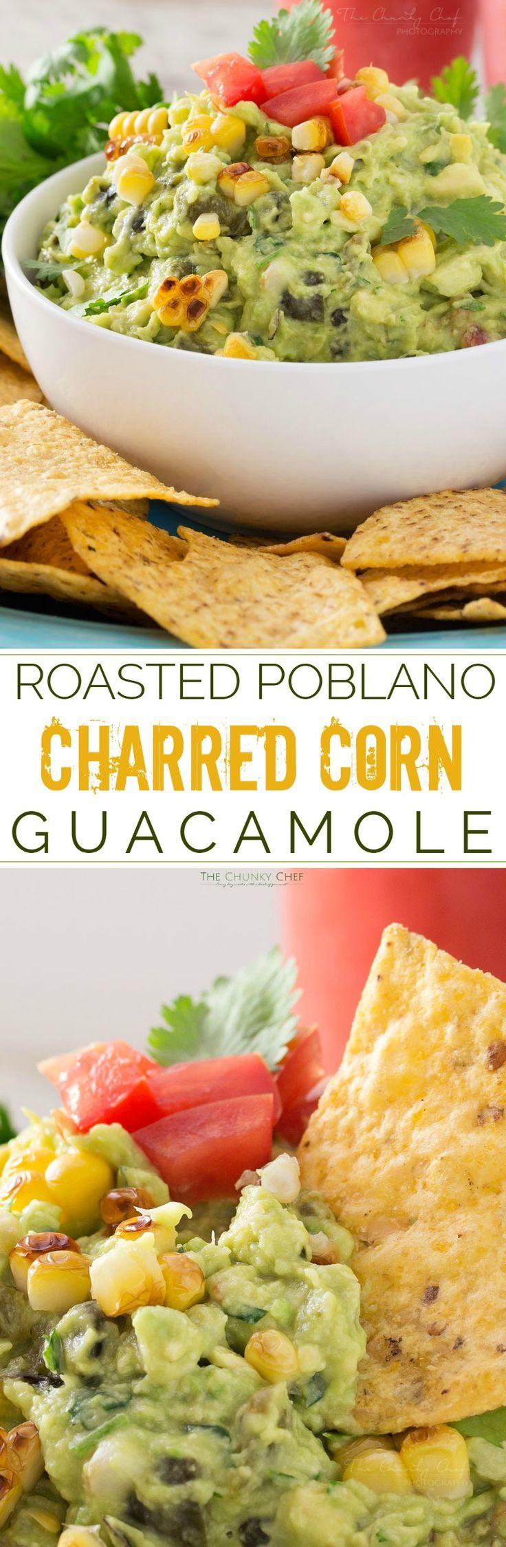 Roasted Poblano and Charred Corn Guacamole | The ULTIMATE guacamole dip!! #spon #foodshouldtastegood @fstgchips: