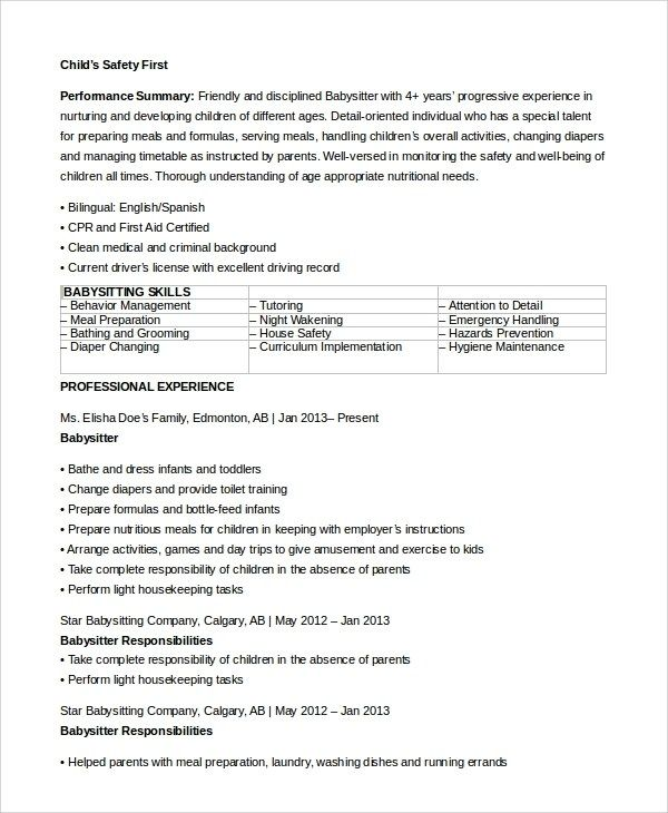 Free 7 Sample Basitter Resume Templates In Ms Word Pdf In 2020 Babysitter Resume Resume Skills Resume