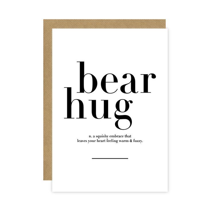 Monochrome Bear Hug Meaning Card