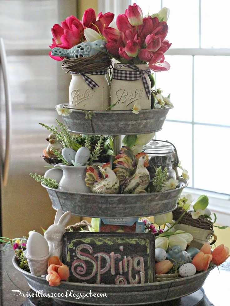Good morning!  It's time for the spring version of the galvanized tiered tray that came from Sam's club last May!!           Lots of egg...