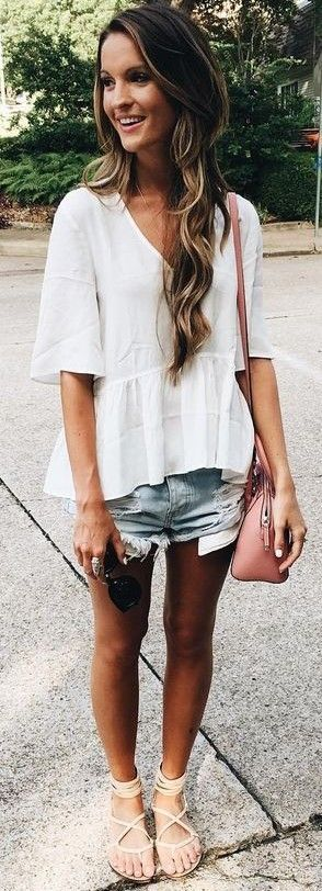 White top + jean shorts + nude sandals