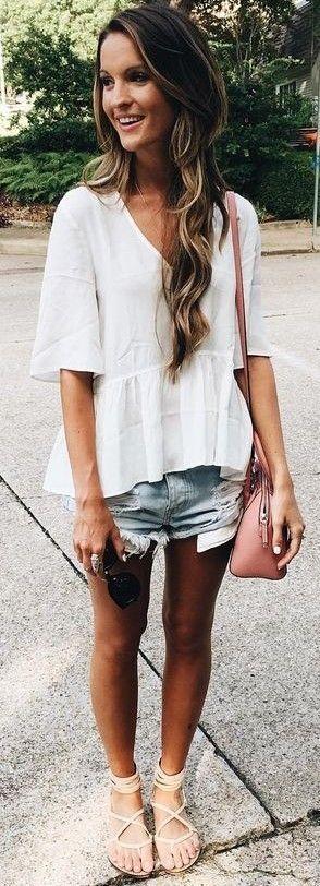 #summer #trendy #outfits | White Peplum Top + Denim Shorts