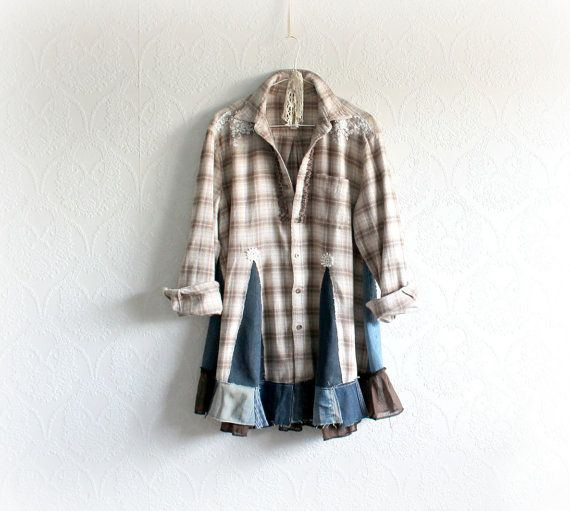 Plaid Flannel Shirt Boho Chic Tunic by BrokenGhostClothing on Etsy