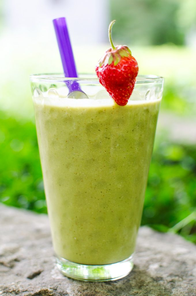 """Swiss chard adds just a hint of """"green"""" flavor that combines well with the sweet taste of strawberries and coconut in this strawberry Swiss chard smoothie."""