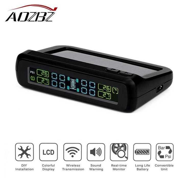 AOZBZ Wireless Car Tire Pressure Alarm Monitor System TPMS Solar Powered LCD Display Car 4 External Sensor Temperature Alarm