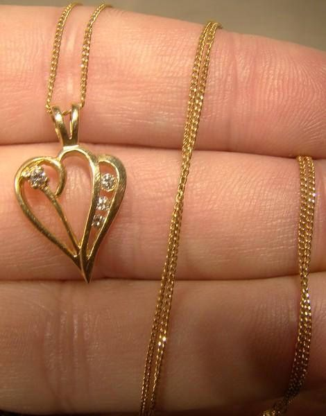 14K Heart Pendant with Diamonds on Chain Necklace 1960s