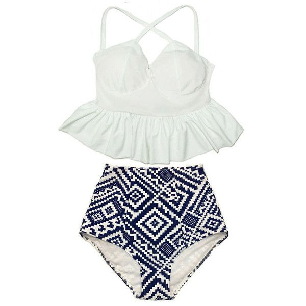 White Long Tankini X Cross Strap Straps Peplum Top and Tribal High... ($40) ❤ liked on Polyvore featuring swimwear, bikinis, silver, women's clothing, high-waisted bathing suits, strappy bikini, retro high waisted swimsuits, retro swimsuit e tankini bathing suits