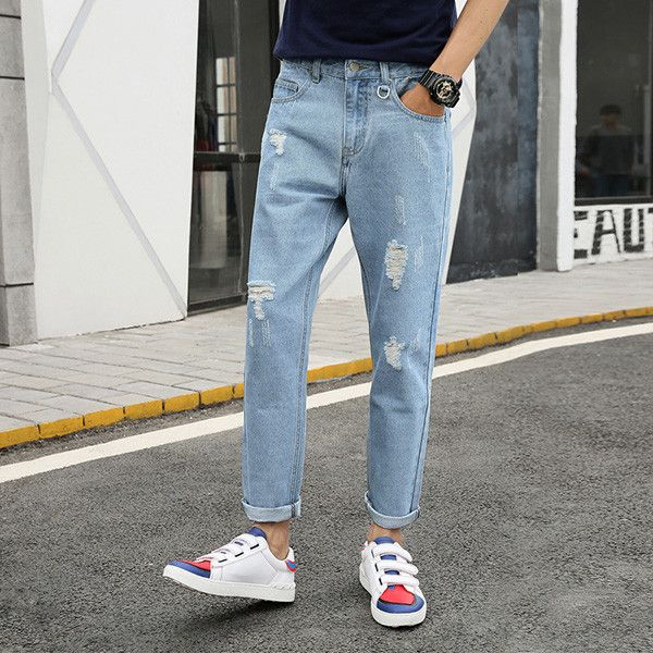 Boys Black Grey Ripped Jeans Distress Holes Ankle Jeans Men Denim Jean Trousers Pants