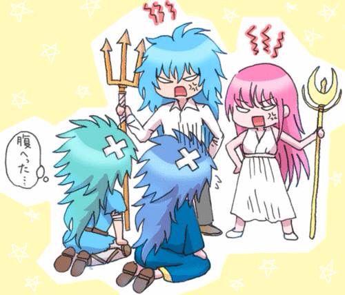 Saga, Kanon, Atena and Poseidon