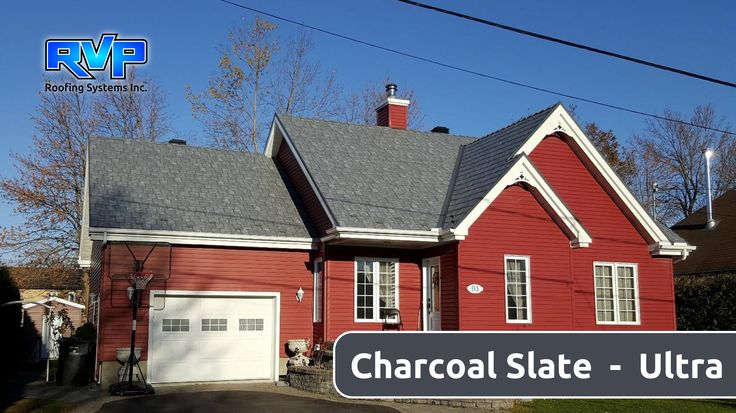 Charcoal Slate, the printed slate pattern in the Armadura Metal Roof's Ultra Collection, looks stunning on this suburban red siding house. WOW! Checkout more at www.rvp-roofing.com Don't forget to like and pin! #RVP #highstrengthsteel #permanentroof #armadura