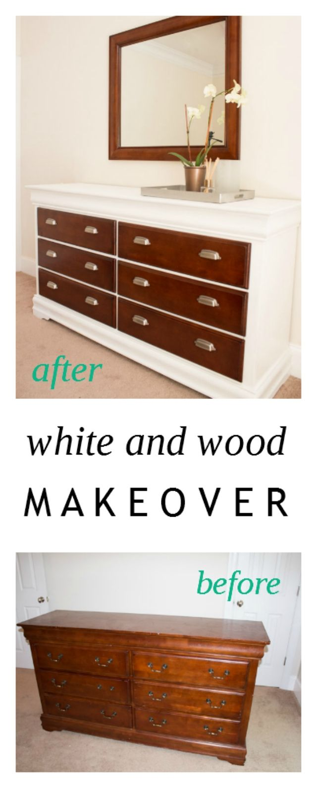 White and Wood Thrift Store Dresser and Nightstand Makeover | Life in Velvet