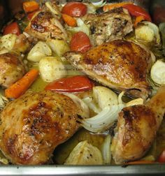 Lebanese Baked Chicken. AMAZING! The fam said it was as good or better than grilled chicken :) I used turnips and no one questions if they were potatoes or not :)