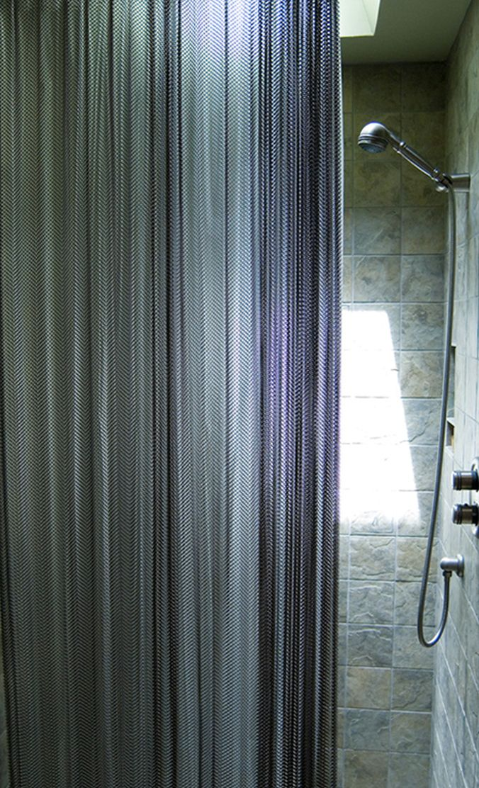 Cascade Coil metal mesh shower curtains are a great addition to modern bathrooms that need a little extra texture   Serenity™ Shower Curtains & Accessories