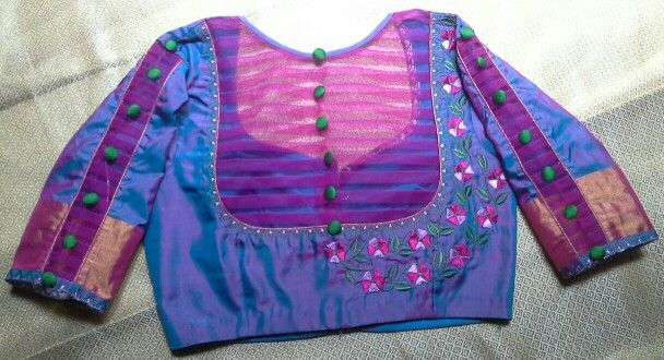 Uppada pattu blouse with net and buttons and machine embroidery 91 9866583602 whatsapp no 7702919644