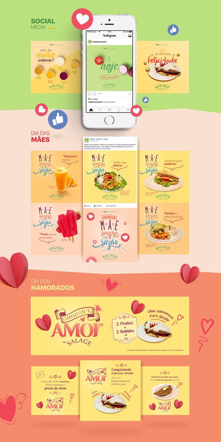 Campanha de lançamento e redes sociais para o Salage - Saladas e Crepes, restaurante de comida saudável.