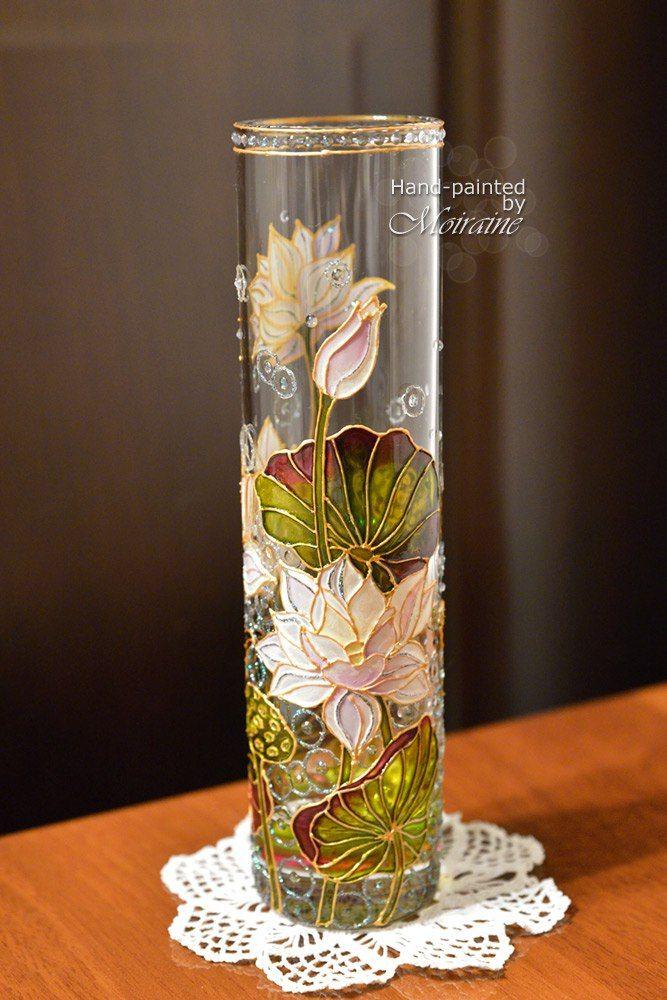 """Hand painted stained glass vase """"White lotus"""" Стеклянная ваза """"Белый лотос"""". Витражная роспись"""