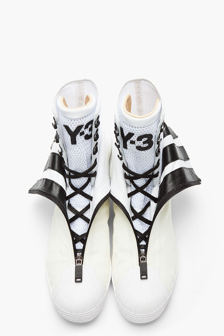 Y-3 White Layered Double-Collared X Sneakers