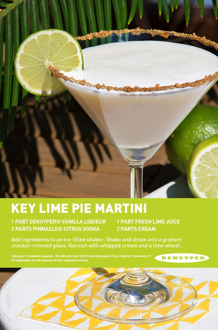 Key Lime Pie Martini: 1 part DeKuyper® Vanilla Liqueur, 2 part Pinnacle® Citrus Vodka, 1 parts fresh lime juice, 2 parts cream. Add ingredients to an ice-filled shaker. Shake and strain into a graham cracker-rimmed glass. Garnish with whipped cream and a lime wheel.: