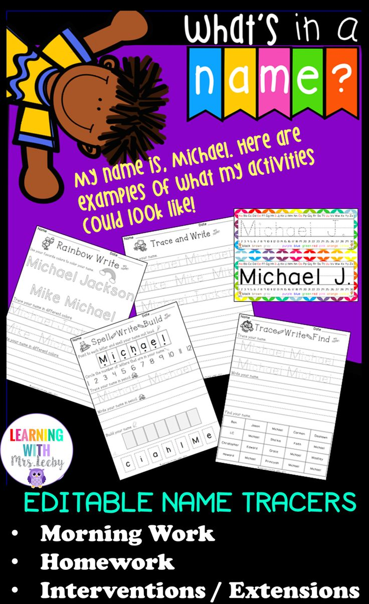 With four different, customizable name worksheets, your kiddos will not only be spelling their names in no time, but will write the letters correctly.  Differentiated and easy to use- just watch the included tutorial.