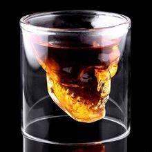 2016 Nuevo Diseñador Creativo Cabeza Del Cráneo Tiro De Cristal Diversión Doomed Transparente Partido Del Destino Drinkware Regalo para Halloween 4 tamaños(China (Mainland))