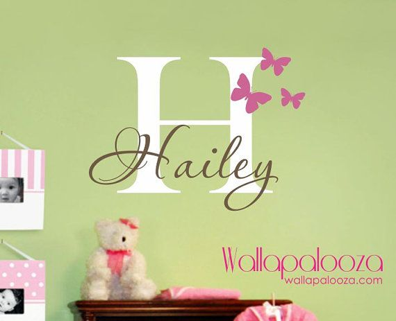 Girls Name Wall Decal  Butterfly Wall Decals by WallapaloozaDecals, $32.00