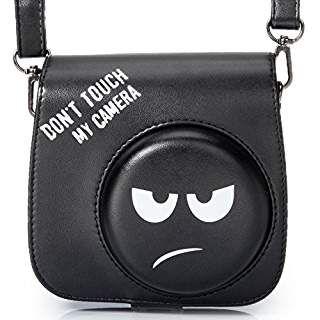 [Fujifilm Instax Mini 8/8+ Camera Case]—Woodmin Groovy PU Leather Fuji Instant Camera Case with Shoulder Strap (Black)