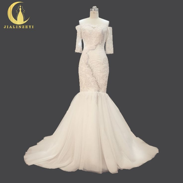 399.99$  Buy here - Rhine Real Sample Sexy Boat Neck Lace Appliques with Pearls Mermaid Bridal Wedding Gown wedding dresses   #buyininternet