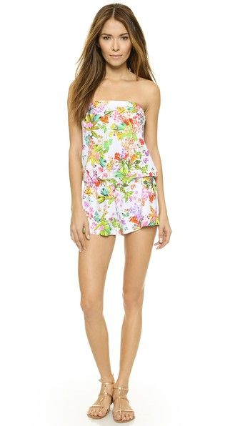 Shoshanna Botanical Floral Strapless Romper -- rock with gold shoes. colorful shoes. yes