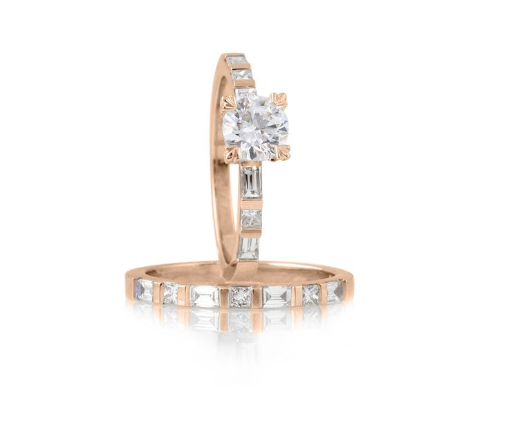 Divine Diamonds in Delicate Rose. Brilliant diamond engagement and wedding ring with princess & baguette diamond bands in 18ct rose gold