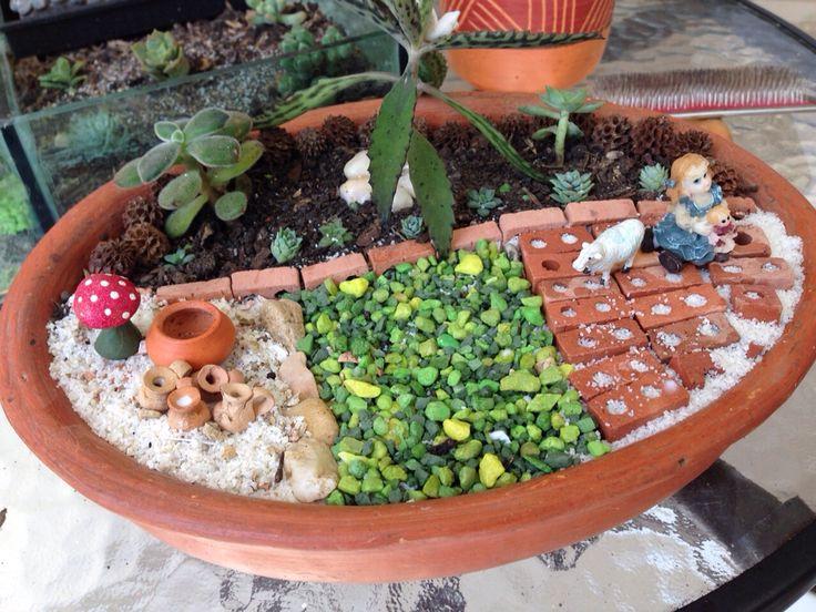 Terrario en vasija de barro con suculentas