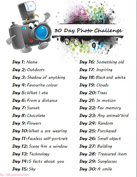 30 Day Photo Challenge List « WeLcOmE