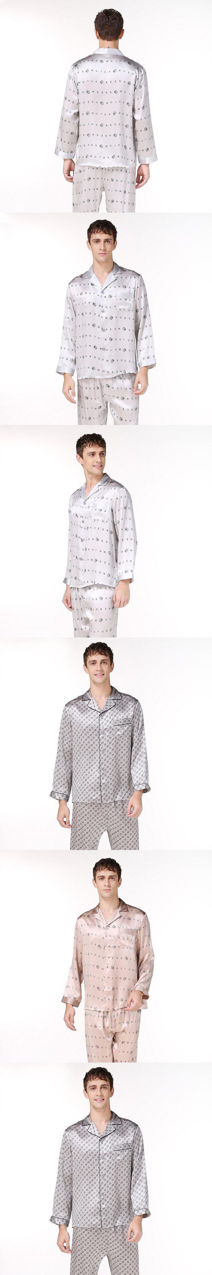 2XLmens silk pajama set letter long sleeve  mens silk night sleepwears brand men's silk stain summer fashion casual pajama sets