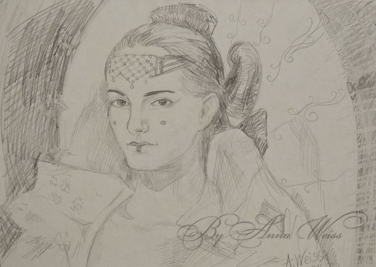 Padme Amidala Queen Portrait Original Drawing Star Wars Hand Painted Paper Sketch Contamporary Free Fine Art by AnnaWeissArt on Etsy