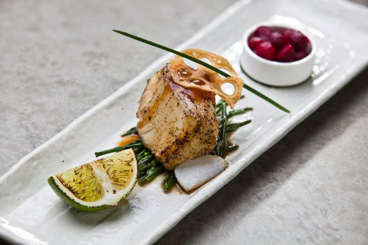 Baked Chilean Sea Bass with Wasabi served with salicorne, pickled beetroot ans special sauce