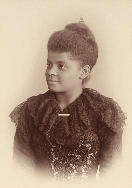 c. 1893: Ida B. Wells-Barnett, in a photograph by Mary Garrity. Wells documented lynching in the United States in the 1890s and was influential during the women's suffrage movement, establishing several notable women's organizations.