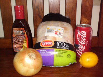 Whole chicken, bottle of BBq sauce, can of coke, a whole onion peeled and quartered, and a lemon quartered thrown in a crock pot cooked on low for 6-8 hours.... Yummy!