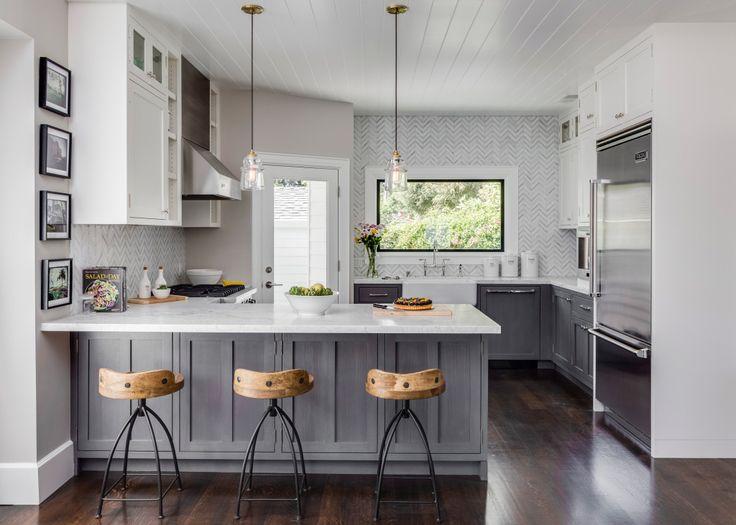 1000+ ideas about White Grey Kitchens on Pinterest  Grey   -> Kuchnia Ciemno Szara