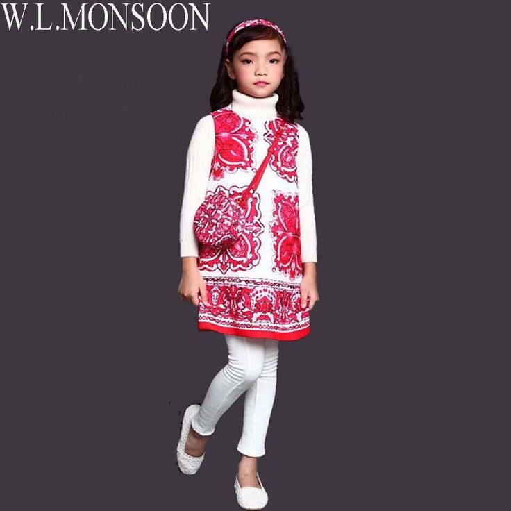 17.69$  Watch here - W.L.MONSOON Girls Dress Majolica Print Princess Costume for Kids Clothes 2017 Brand Children Dress Robe Fille Enfant  #buychinaproducts
