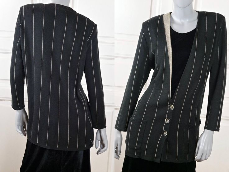 Vintage Cardigan Blazer, Swedish Black Tan Cotton-Blend Knit Pinstripe Sweater Blazer w Padded Shoulders: Size 12 US, Size 16 UK http://etsy.me/2AEtMF2 #clothing #women #sweater #sweater12 #jumper16uk #vintagesweater #womensvintage