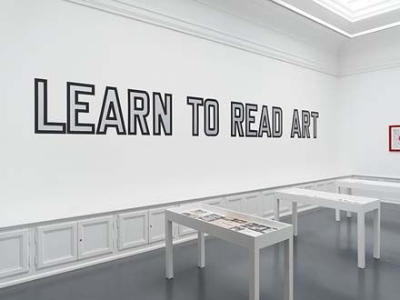 """ LAWRENCE WEINER "" Neo-conceptual art. Compared to Vernon Ah Kees work because of the no-nonsense, sans serif, Swiss typeface, Helvetica."