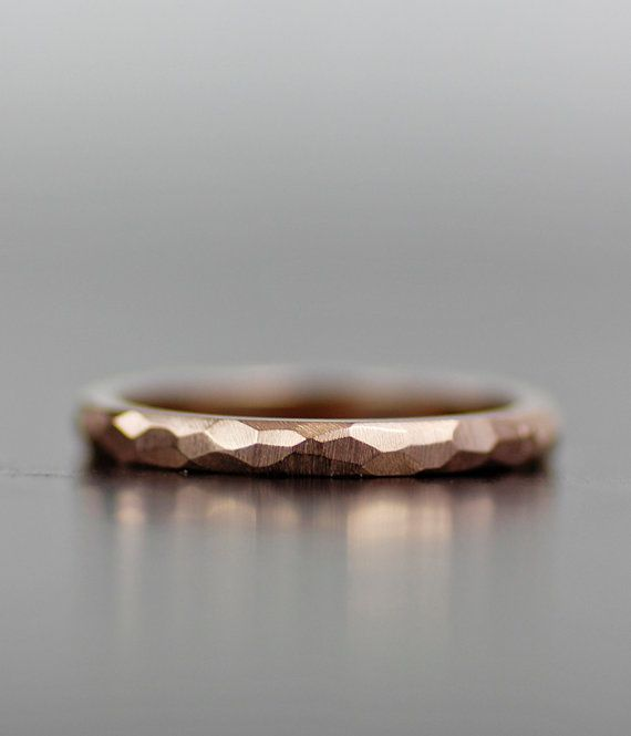 Skinny rose gold wedding band, womens wedding ring set, womens wedding band, stacking wedding bands, stacking wedding rings, faceted wedding