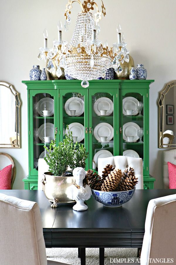 2017 FALL HOME TOUR WITH UNTRADITIONAL COLORS Vintage TableUpholstered ChairsGreen ChinaChina CabinetsShabby CottageCrystal ChandeliersHome Decor IdeasDark