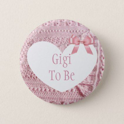 Gigi to be Pink Bow Baby Shower Button - baby shower ideas party babies newborn gifts