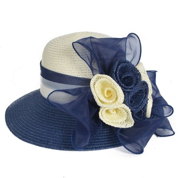 Lady Dress Straw Cloche Sweet Cute Floral Bucket Hat Bridal Church... (€16) ❤ liked on Polyvore featuring accessories, hats, navy blue bucket hat, straw bucket hat, fisherman hat, floral hats and cap hats