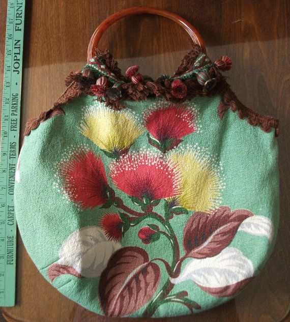 TOTE BAG HandMade Purse from Vintage Barkcloth by LilyGraceKC, $60.00