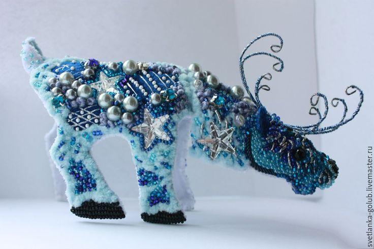 Новогодний олень. Создаем необычное интерьерное украшение в совмещенной технике вышивки и оригами - Ярмарка Мастеров - ручная работа, handmade