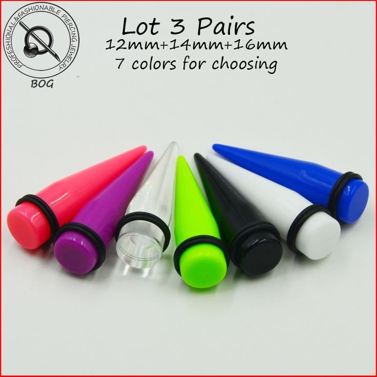 BOG-Lot 6 pieces Large Size Acrylic Ear Taper  Stretcher Plug Gauges Piercing Earring Body Jewelry 12MM&14MM&16MM