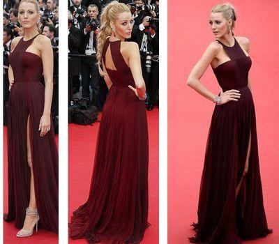Sexy Gossip Girl Blake Lively Burgundy Carpet Celebrity Dresses Chiffon High Split Evening Gowns Formal Prom Party Dress
